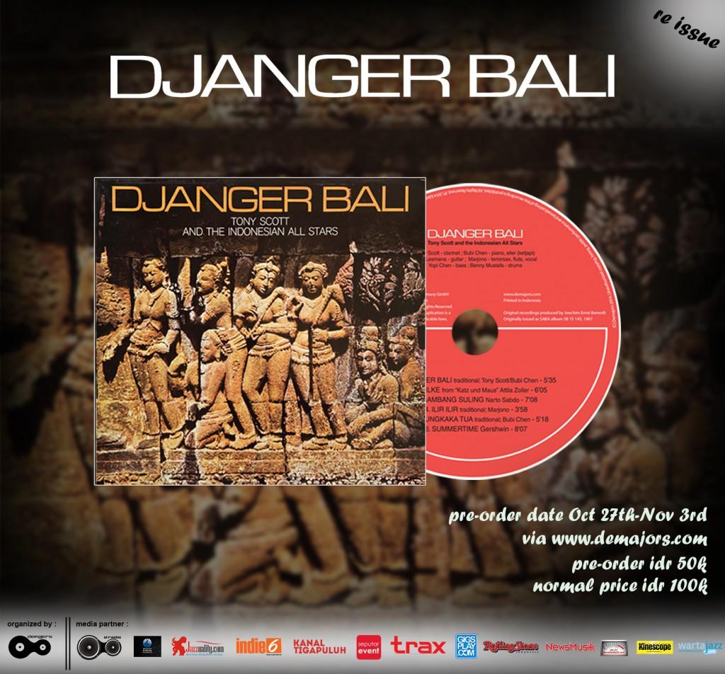 Flyer Produksi Album Djanger Bali oleh Demajors dan KinescopeMagz menjadi salah satu media support.
