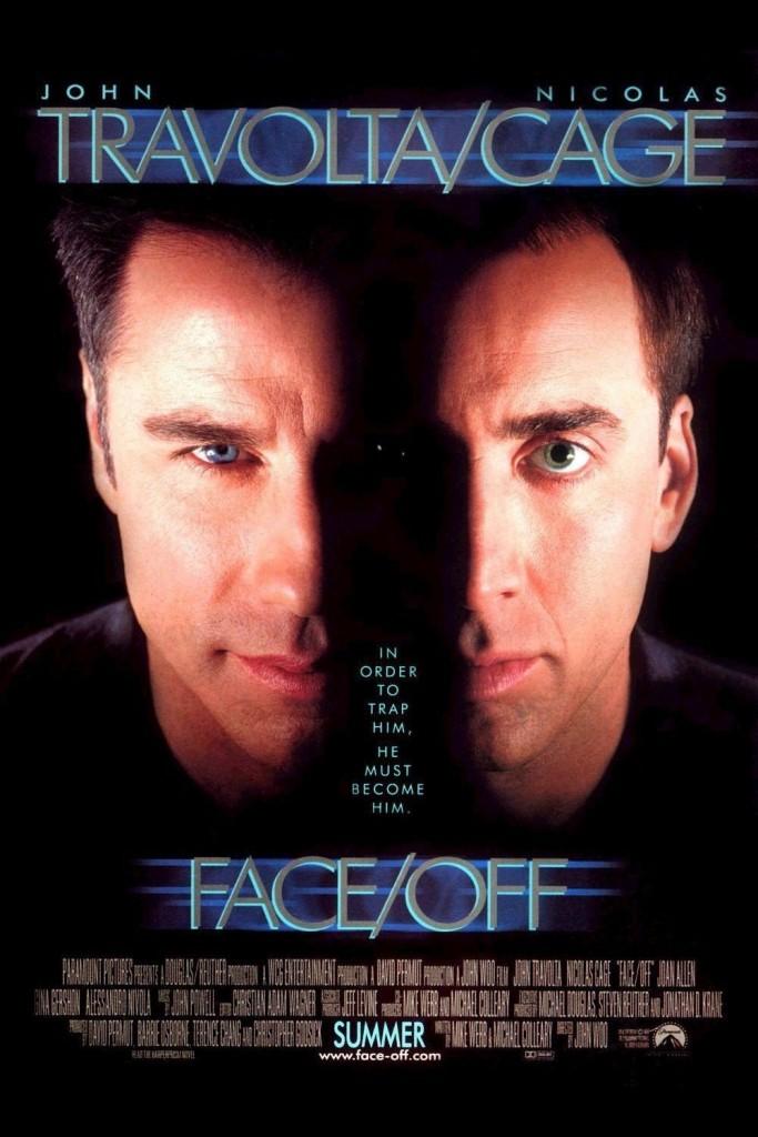 Official Poster film Face Off karya John Woo, yang dibintangi oleh John Travolta dan Nicholas Cage