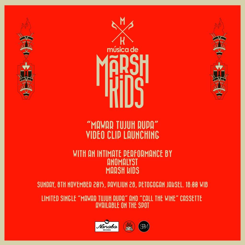 "Promotional Poster acara rilis klip video Marsh Kids berjudul ""Mawar Tujuh Rupa"""