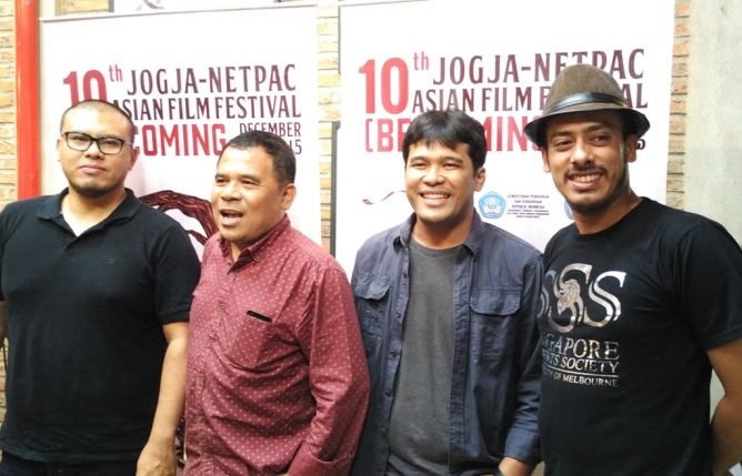 "Para narasumber konferensi pers JAFF ke 10, dari kiri ke kanan: Joko Anwar (Sutradara Film ""A Copy Of My Mind), Garin Nugroho (Festival President JAFF), Ifa Isfansyah (Executive Director JAFF) dan  Ismail Basbeth (Program Director JAFF). (Foto:Metrotvnews.com/Agustinus Shindu A)"